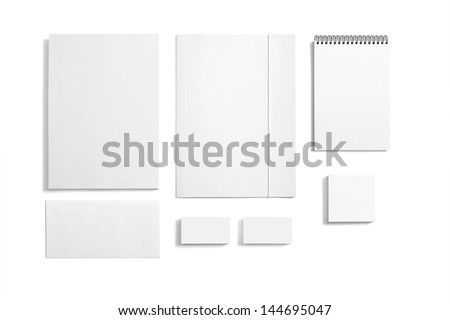 Blank Stationery templates. / Blank Stationery / Folder, note, letterhead, envelope, reminder isolated on white - stock photo