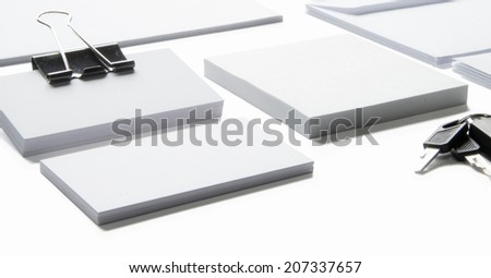 Blank stationery with clipping path isolated on white to replace your design - stock photo