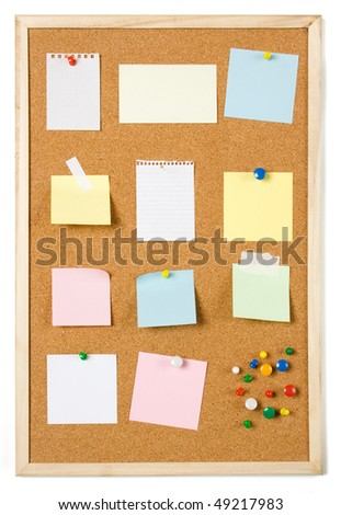 Blank sticky notes pinned on cork notice board - stock photo