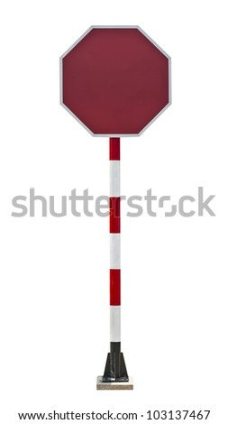 Blank stop sign on white with clipping path - stock photo