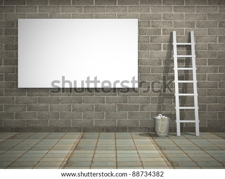 Blank street advertising billboard on dirty grunge wall - stock photo
