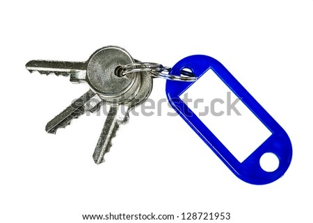 Blank tag and a key isolated on white background - stock photo