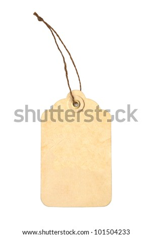 Blank tag tied with brown string - stock photo