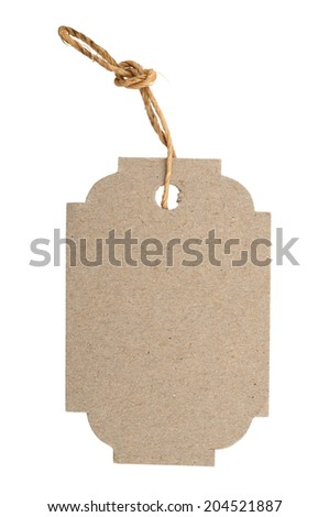 Blank tag tied with brown string isolated against a white background - stock photo