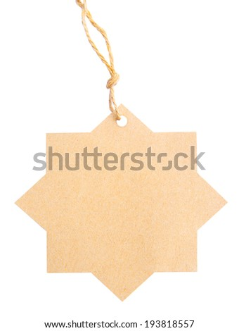 Blank tag tied with brown string isolated against a white background, clipping path - stock photo