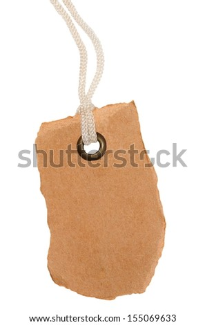 Blank tag tied with string isolated on white background - stock photo