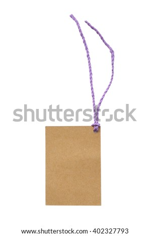 Blank tag tied with string. Price tag, gift tag, sale tag, address label. - stock photo