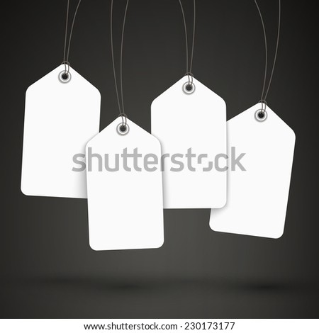 blank tags set design over black background - stock photo