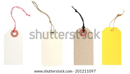 Blank tags tied with string. Price tag, gift tag, sale tag, address label  - stock photo