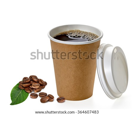 Blank take away coffee cup with beans and leaf on white background  - stock photo