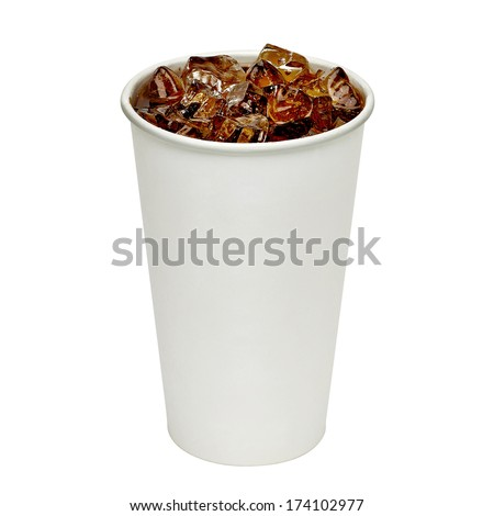 Blank take away cola cup with ice on white background including clipping path - stock photo