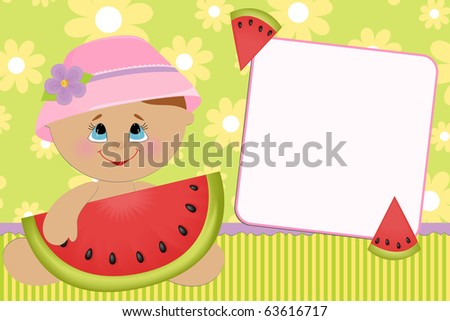 Blank template for baby's greetings card or photo frame - stock photo