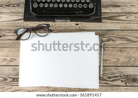 blank template white paper mockup where you can place text ad information. Top view. Workplace writer journalist blog editor - stock photo