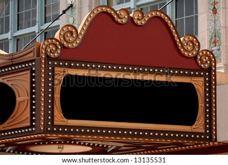 Blank Theater Marquee Sign - stock photo