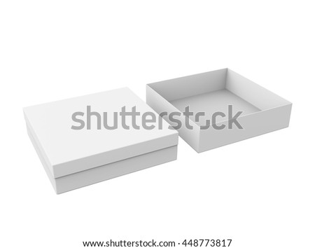 Blank thin boxes, open and closed, isolated on a white background. Mockup for your design. 3D illustration - stock photo