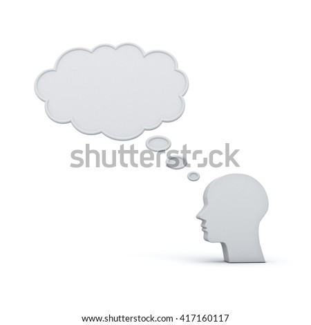 Blank thought bubble above head thinking concept isolated over white background with shadow. 3D rendering. - stock photo
