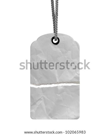 Blank torn price tag isolated on white background with copy space and path. - stock photo