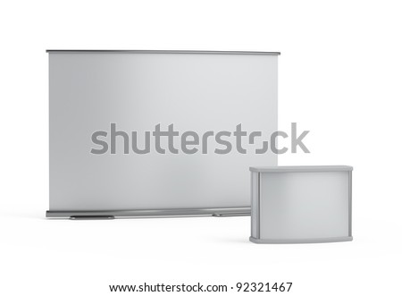 blank trade show booth template - stock photo