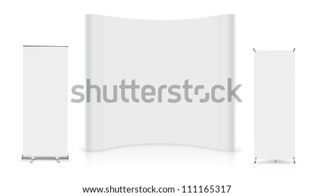 Blank trade show booth with roll up banner display, isolated on white background (Save Paths For design work) - stock photo