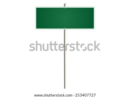 Blank traffic sign on a white background. Plenty of space for any text. Raster.  - stock photo