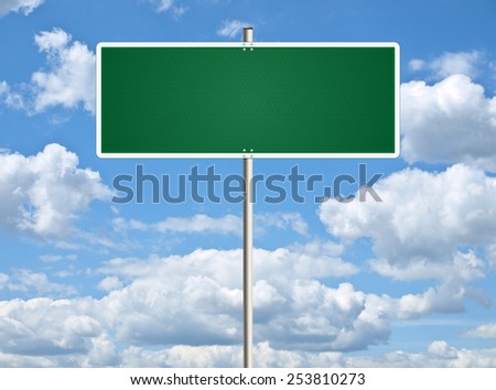 Blank traffic sign with space for any text. Raster.  - stock photo