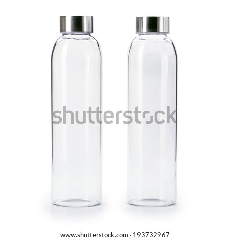 blank Transparent of aluminum lid glass bottle isolated on  white background - stock photo