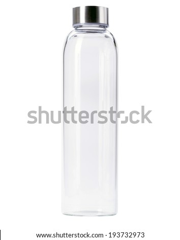 blank Transparent of aluminum lid glass bottle isolated on  white background - stock photo