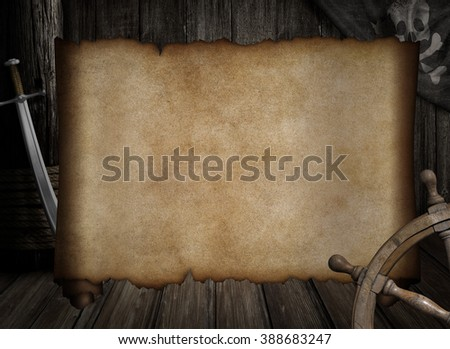 blank treasure map over other pirates accessories - stock photo