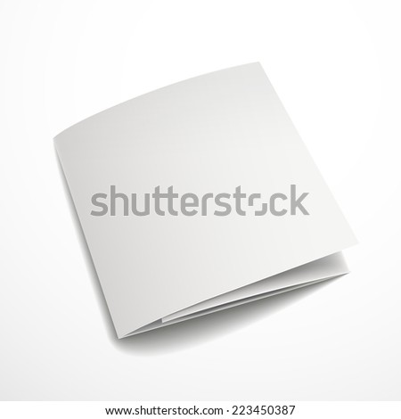 blank tri-fold brochure design isolated on white     - stock photo