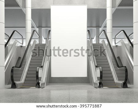 Blank vertical big poster in public place. Billboard mockup near to escalator in an mall, shopping center, airport terminal, office building or subway station. 3D rendering. - stock photo