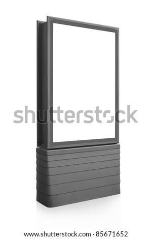Blank vertical billboard sign isolated on white, screen and outline clipping path included - stock photo