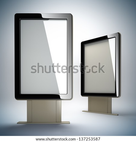Blank vertical billboards. 3D illustration of blank template layout empty metal billboards with black frame. - stock photo