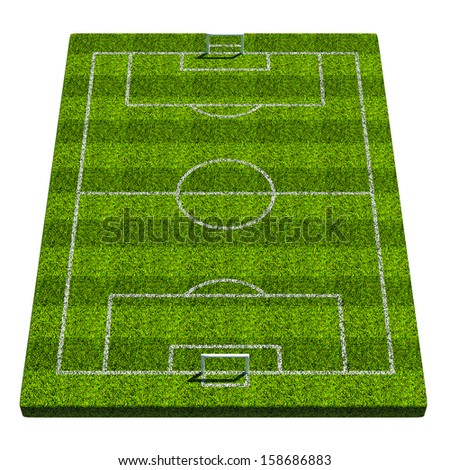 Blank vertical 3d soccer formation plate. Isolated on white background - stock photo
