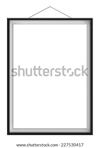 Blank vertical painting in black frame hanging on the wall, isolated on white background. Painting proportions match international paper size A. - stock photo