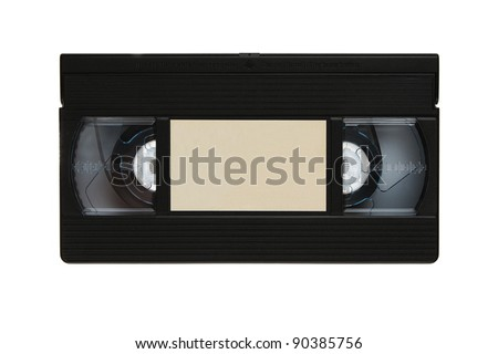 Blank vhs video cassette tape isolated on white background - stock photo