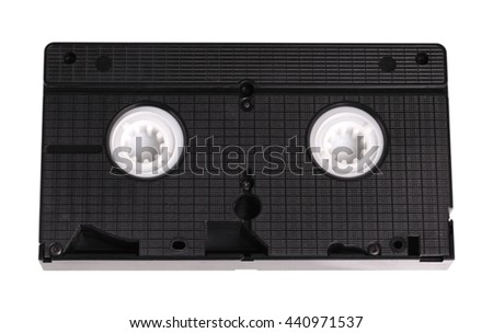 Blank vhs video cassette tape isolated on white background with clipping path - stock photo