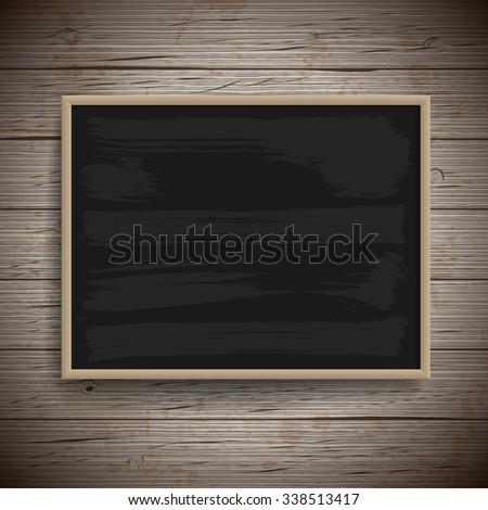 Blank vintage chalk board background. - stock photo