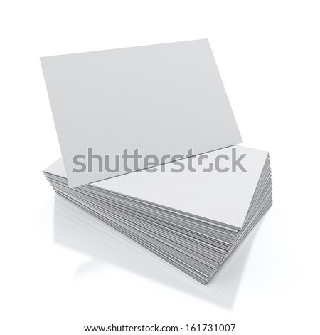 blank visit cards pile isolated on white background with reflection - stock photo