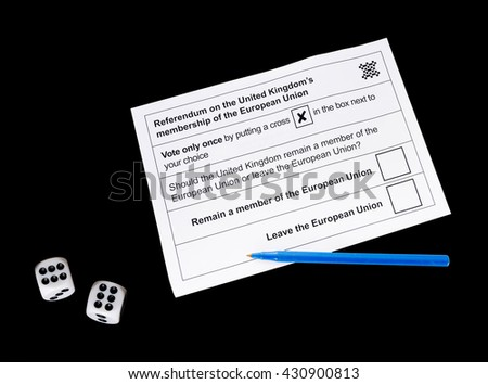 Blank voting form for UK EU referendum aka Brexit with dice. It is all a gamble! Concept. On black. - stock photo