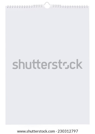 Blank wall calendar on white background - stock photo