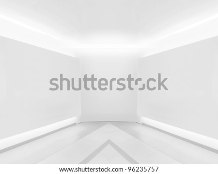Blank wall in gallery - stock photo