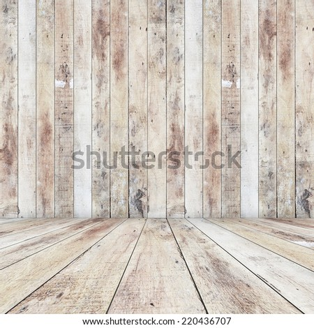 blank wall with wooden floor - stock photo