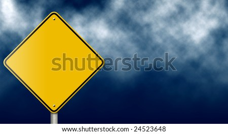 Blank warning road sign against stormy sky. - stock photo