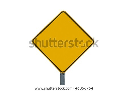 Blank warning traffic sign isolated on white background - stock photo