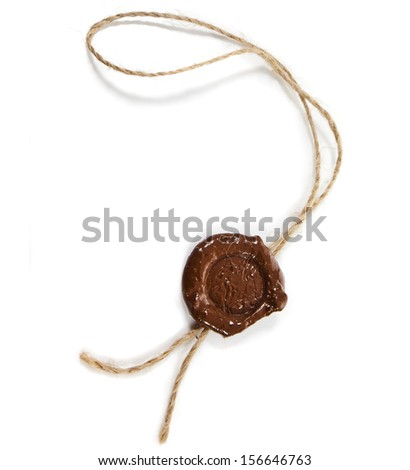 Blank wax seal close up with  twine  isolated on white background  - stock photo