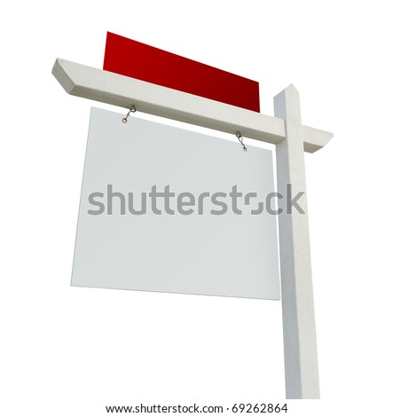 Blank White and Red Real Estate Sign Isolated on a White Background. - stock photo