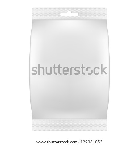 Blank white bag packaging for wipes, tissues or food. Product package template. Raster Version - stock photo