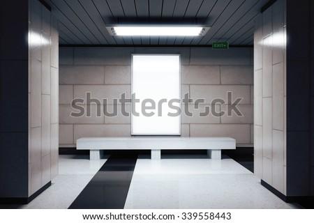 Blank white billboard in underground passage, mock up 3D Render - stock photo
