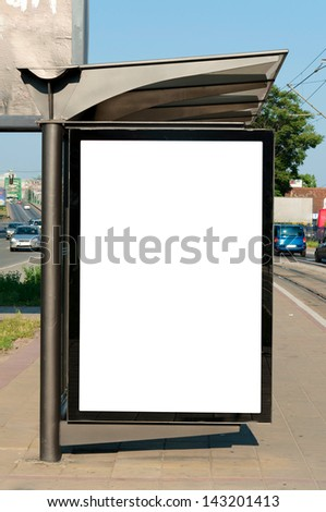 Blank white billboard on the buss station - stock photo