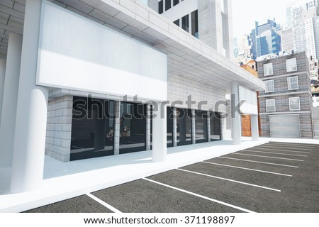 Blank white billboard on the wall of modern building on the street, mock up 3D Render - stock photo